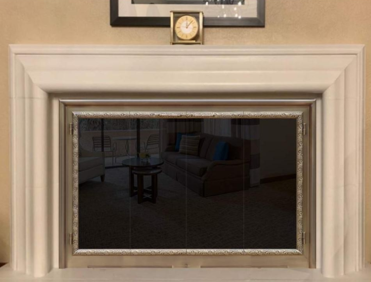custom solid brass fireplace door w/trim