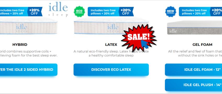 idle sleep mattress coupon