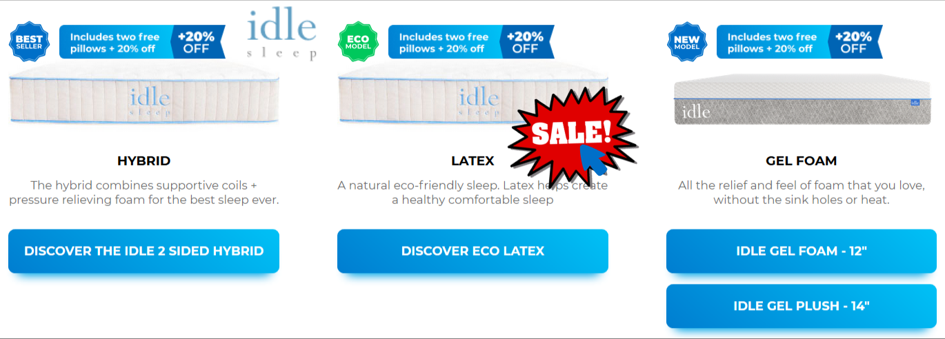 idle sleep mattress coupon