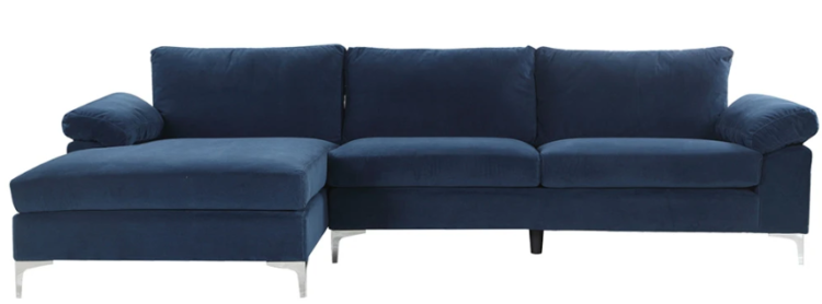 amanda modern velvet large sectional sofa