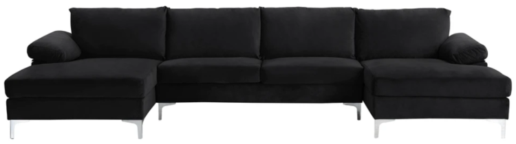amanda xl modern velvet oversized sectional sofa