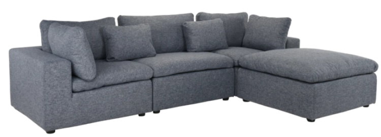 fitz contemporary low profile lounge sofa with chaise