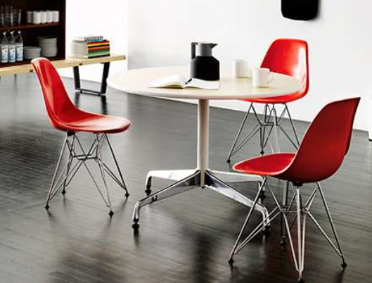 eames molded plastic side chair with eiffel tower base