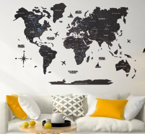 2D wooden world map color black