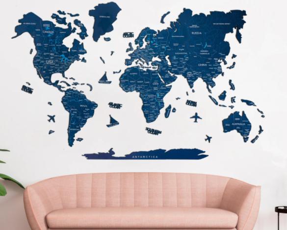 2D wooden world map color navy blue