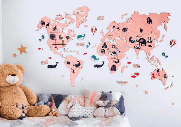 kids wooden world map pink