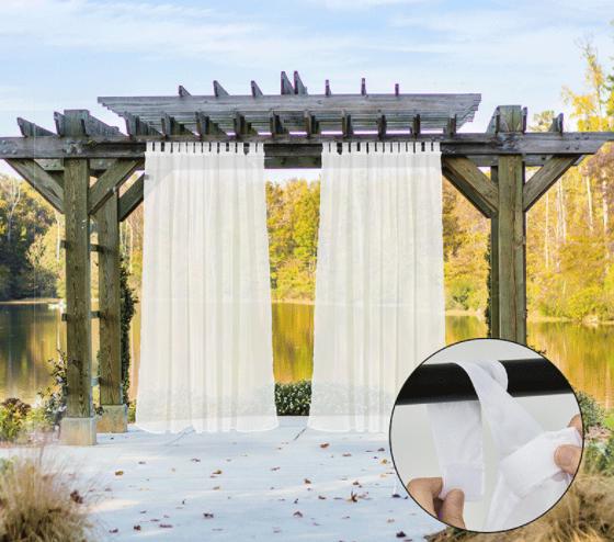 outdoor waterproof velcro tab top curtains sheer