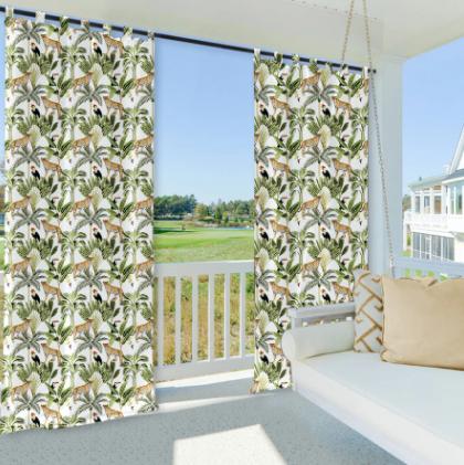 printing outdoor waterproof tab top curtains