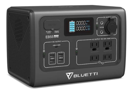 bluetti eb55 portable power station 700w